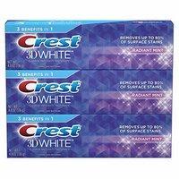 $8.99 (原价$12.59) Crest 3D White 薄荷美白牙膏 4.8oz 3支装