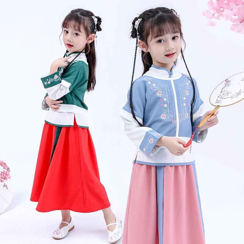 ¥69 古装女童汉服刺绣小女孩仙女改良唐装超仙秋装套装儿童长袖襦裙新