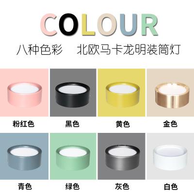 马卡龙色彩超薄超亮明装免开孔小圆灯吸顶灯 16.8元