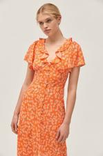 折合146.93元 UO Heart Melter Button-Front Ruffle 女士复古连衣裙