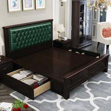 恒兴达 美式实木高箱双人床 1599元包邮