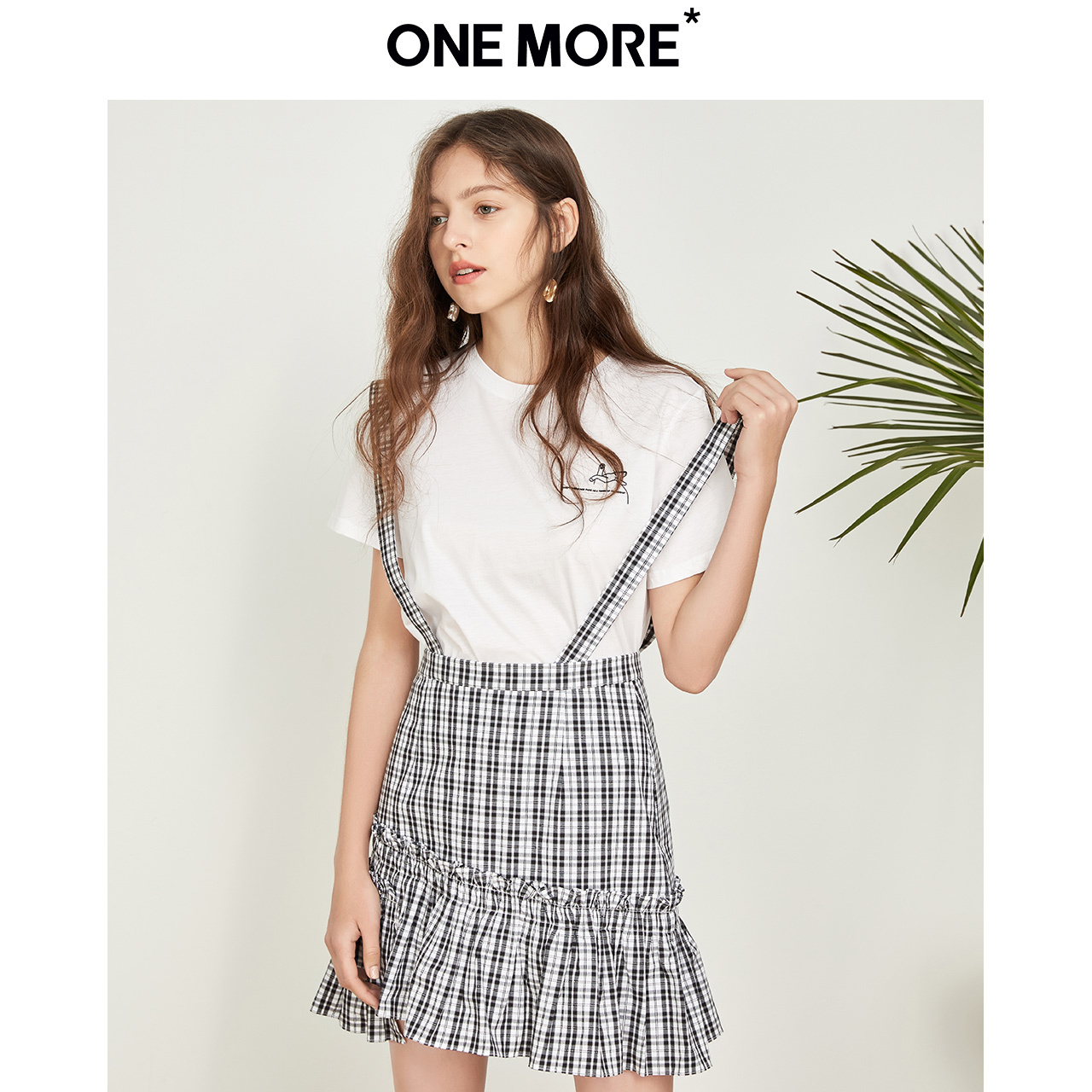 ONE MORE2019夏季新款格纹高腰半身裙韩版显瘦半裙女 79元