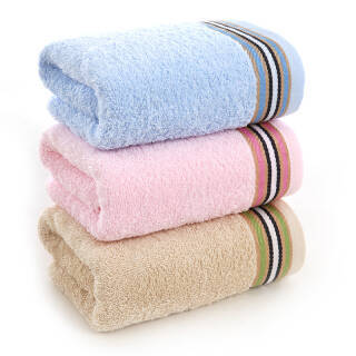 依明洁 纯棉提缎彩条毛巾 棕粉蓝三色面巾3条装 33*70cm 80g/条 *6件 42元(合7元/件)