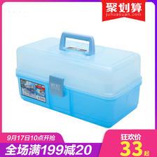 爱丽思IRIS 日本塑料汽车载工具箱 整理箱 透明文具整理箱 MY KIT 35元
