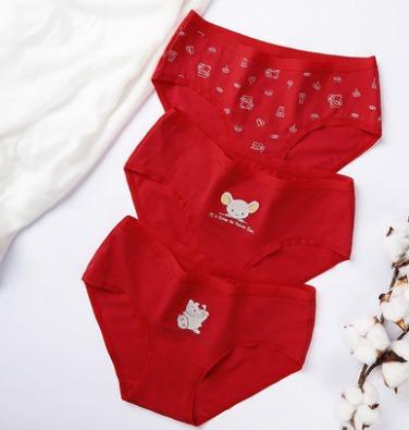 ¥29.9 Realwill 润微 女式本命年纯棉舒适中腰大红内裤3条装