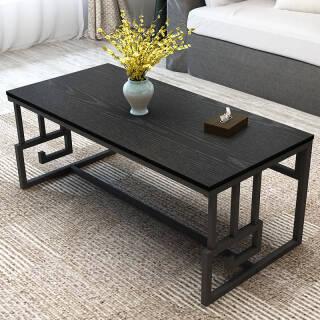 帅力 茶几 新中式客厅祥云款时尚大型茶桌钢木靠墙长方形边几 120*56cm黑胡桃色 SL8107C 89.5元