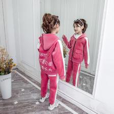 ¥39.9 儿童金丝绒套装男女童加绒加厚两件套