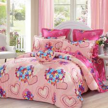 LOVO罗莱生活出品 纯棉四件套全棉床品套件床上用品床单被套 心心相印220*240