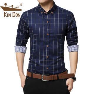 京东PLUS会员:金盾 KIN DON衬衫男士加绒加厚保暖 格子纯色长袖衬衫1311深蓝加绒XL *3件 177元(合59元/件)