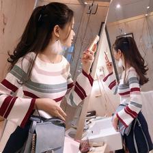 ¥29.9 源瑞吉 条纹上衣一字领针织衫女
