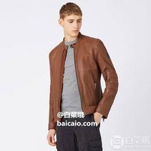 ¥811 L码白菜,手慢无!,Boss Orange 橙标 Jagson5 男士立领绗缝格纹羊皮夹克