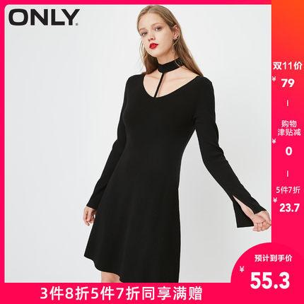 ¥55.3 11日0点:ONLY清仓夏季新款纯色显瘦连衣裙女