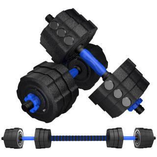 凯速蓝款环保哑铃20公斤(10kg*2)可拆卸男士包胶手铃杠铃套装家用运动健身器材 送连接杆  券后99元