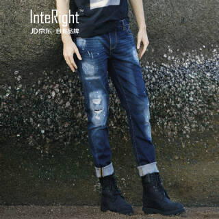 INTERIGHT 牛仔裤男 合体修身微弹破洞水洗潮流牛仔裤 牛仔蓝 *2件 109元(合54.5元/件)