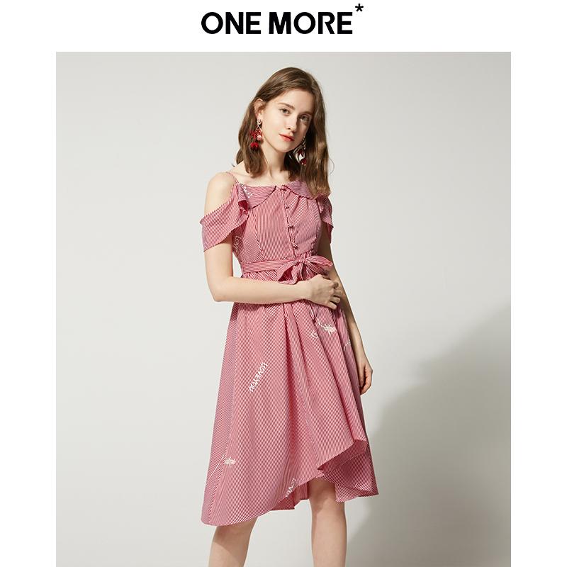¥79 ONE MORE2019夏季新款荷叶边连衣裙子