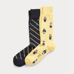 Ralph Lauren Bears & Stripes Sock 2-Pack 男袜两双装