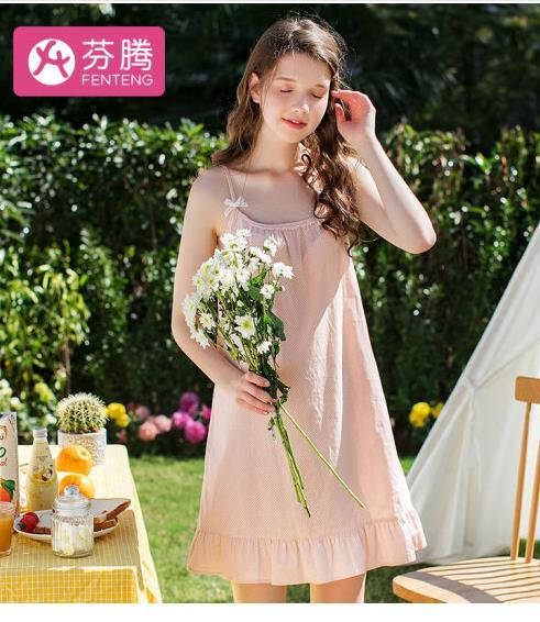 ¥63 芬腾 新品甜美波点印花睡裙