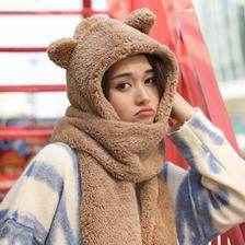 秋冬季帽子女小熊耳朵围巾帽子一体羊羔毛围脖韩版可爱百搭毛绒女  券后16