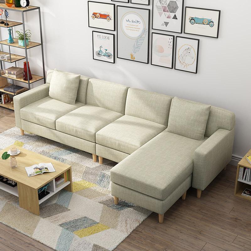 ¥1558.2 美天乐 实木布艺沙发组合 四人位 脚踏