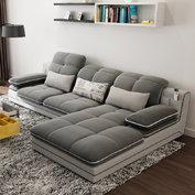 ¥2399 A家家具 可拆洗布藝沙發組合 (灰色 三人位+右貴妃位)