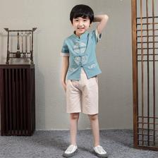 ¥44 男童短袖复古棉麻汉服儿童夏季民族风薄款套装中国风书童唐装春秋