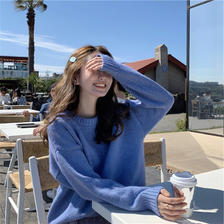 ¥49 2019新款很仙的糖果色毛衣女慵懒风宽松外穿软奶蓝针织衫套头上衣