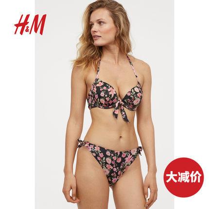 H&M女装运动内裤 泳衣气质系带坦加式比基尼泳裤 30元