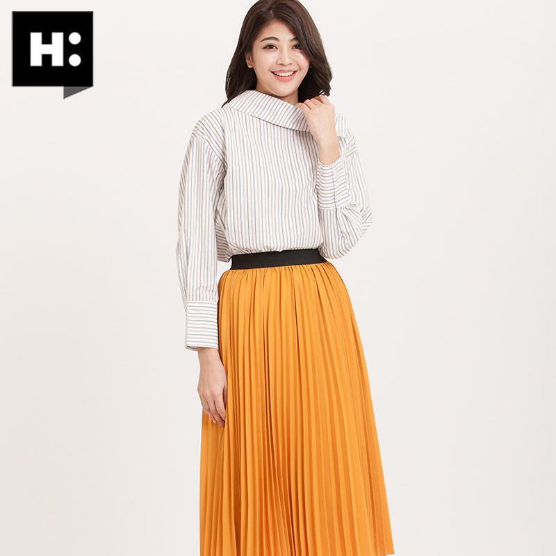 H:CONNECT新款衬衫女条纹韩版套头时尚通勤潮流上衣 88元