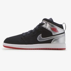 【额外8折】乔丹 Air Jordan 1 Mid 中童款篮球鞋 黑银