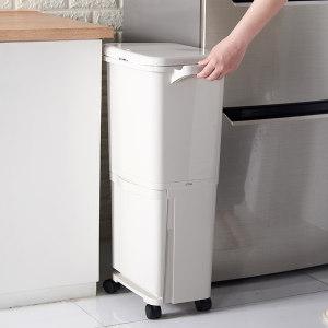 日本 imakara 双层带滑轮 干湿分类垃圾桶 98元618返场价 正价396元