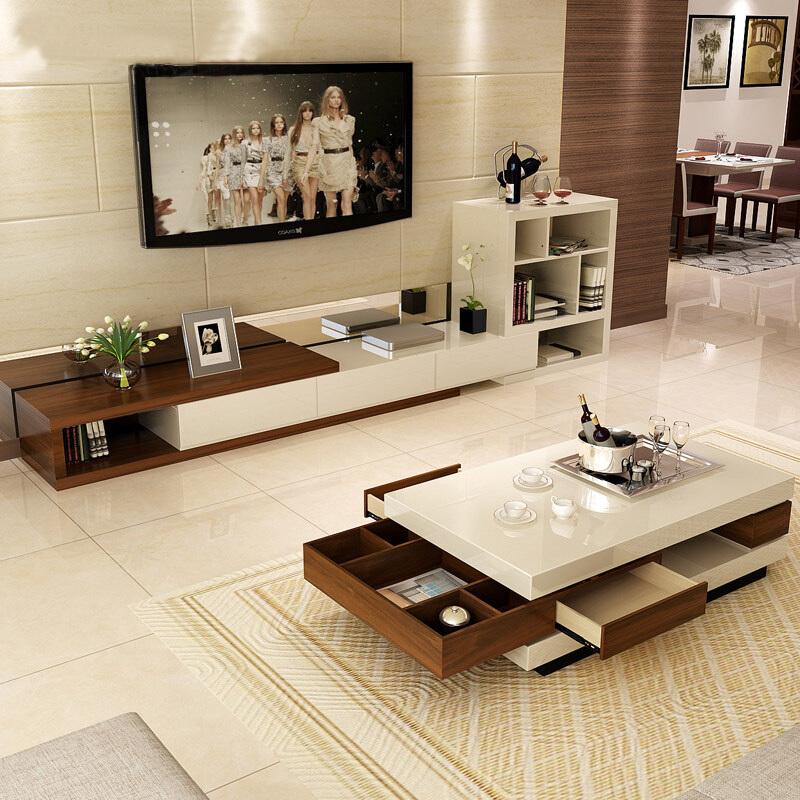 A家家具 简约拼色可伸缩 茶几+电视柜组合 1792元包邮