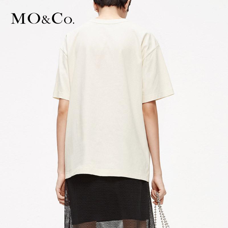 MOCO2019夏季新品纯棉圆领爱丽丝做旧印花T恤MAI2TEE001 摩安珂 449元
