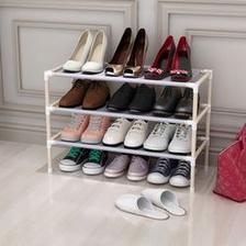家时光 简易单排鞋柜 实木非金属 3层鞋架 15.9元包邮
