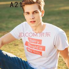 A21 修身短袖T恤男圆领字母印花T恤 19.9元