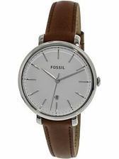 折合348.62元 Fossil 女杰奎琳 es4368 银色真皮日式石英表时尚腕表