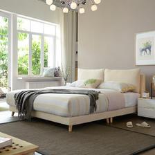 A家家具 DA0120-180 米黄色1.8米床+床垫*1+床头柜*1 2202元包邮