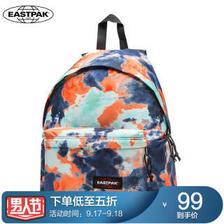 EASTPAK新款时尚印花双肩包欧美学院风背包减压防泼水书包 晕染橘EK62043O  券
