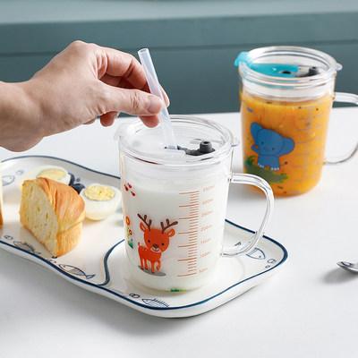 曼丹达 儿童玻璃水杯带刻度牛奶杯350ml 券后29元包邮 4款可选 另一款券后9.9元起