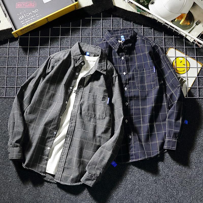 ¥29 日系长袖男士休闲格子衬衫