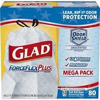 Glad ForceFlexPlus 长型高强韧13加仑厨房垃圾袋 80只