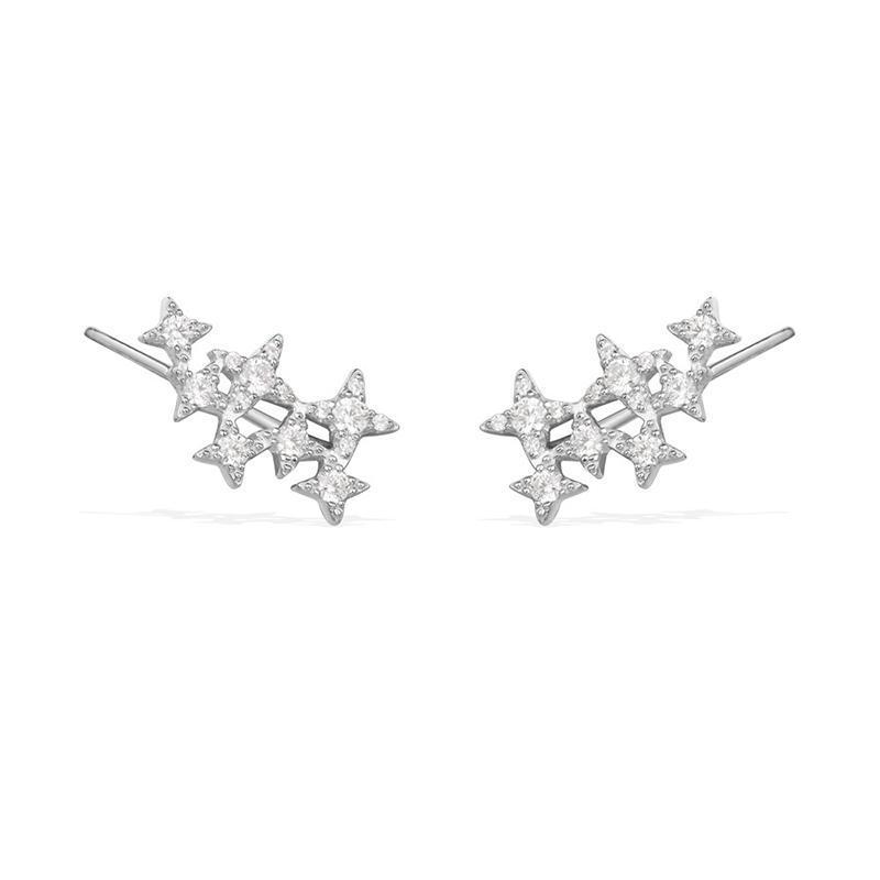 ¥266.53 apm MONACO 纯银镶晶钻繁星耳钉 AE10255OX