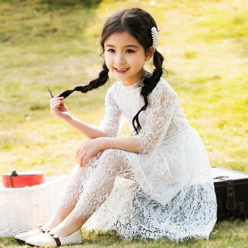 ¥39 女童蕾丝连衣裙夏装2019新款白色洋气儿童公主裙中大童夏季裙子仙
