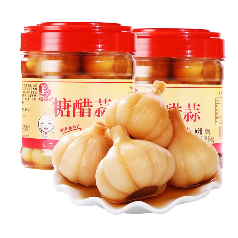 HACCP认证、山东名牌:750gx2罐+260g 万兴姜老大 酱油腌糖蒜 券后20.8元包邮、送一包甜蒜