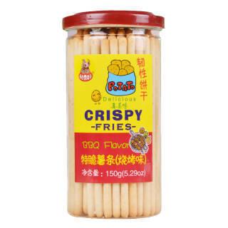 河马莉 磨牙饼干 儿童休闲零食 特脆薯条薯棒 烧烤味 150g *8件 72.4元(合9.05元/件)