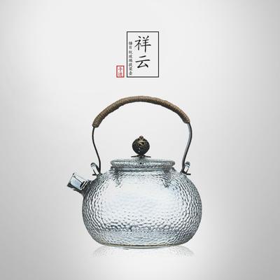 ¥58 光阴系列 锤目纹玻璃烧水壶 祥云 600ml