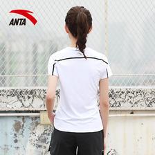 安踏短袖女2019夏季新款短t女装速干体恤透气吸汗跑步休闲运动T恤 69元
