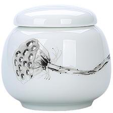东茶西壶 陶瓷便携茶叶罐小号车载茶罐香粉盒普洱罐 白瓷厚德小罐 *6件 69.4