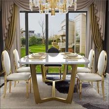 银卧 后现代大理石餐桌椅 3999元包邮