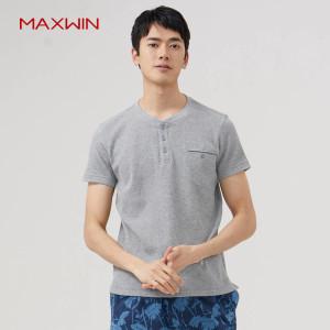 优衣库制造商 Maxwin 马威 男士素色亨利领纯棉短袖T恤 29元包邮