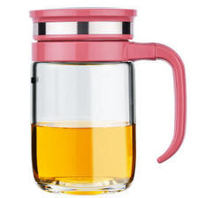 好乐家玻璃杯 U201 345ML单层耐热水杯 带手柄男女办公室水杯 家用情侣茶杯